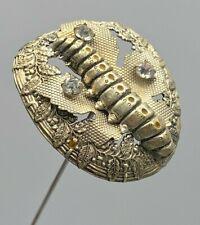 Antique Hatpin Eye-catching Caterpillar. Very Symbolic-Acorns Oak &Maple Leaves