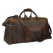 "22"" Mens Womens Leather Large Travel Suitacase Carry on Handbag Weekender Large"