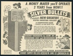 1950 Exhibit Supply Silver Bullets coin-op shooting gallery game print photo ad