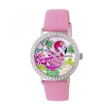 Bertha Luna Women's MOP Crystal Light Pink Genuine Leather Flamingo Watch BR7702