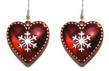 RED & WHITE CHRISTMAS SNOWFLAKE HEART DANGLE EARRINGS (H116)