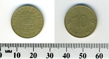 Latvia 1992 - 10 Santimu Nickel-Brass Coin - Lined arch above value