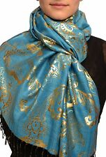 Gold Lotus Flower Print On Dodger Blue Pashmina With Tassels (SF002606)