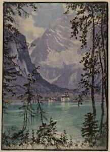 LUDWIG BURGEL (1901-1980) Signed Aquatint Etching MOUNTAINS & LAKE 20TH CENTURY