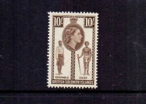 SOLOMON ISLANDS 1956 10/- SEPIA SG95 MNH CAT £32