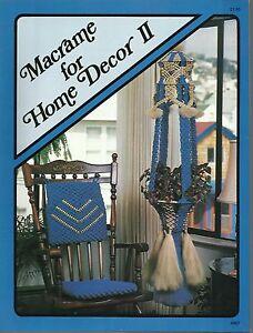 Macrame for Home Decor Vol 2 Vintage Pattern Instruction Book NEW 1978