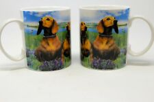 Blossom Ceramics Dachschund Puppy Dog Coffee Cup Photo Mug 6 Oz Lot Of 2