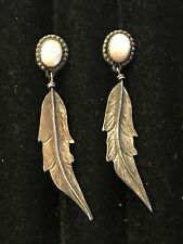 Vintage Native American Navajo Sterling Mother Of Pearl Feather Post Earrings