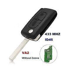 Citroen C2 C3 C3 pluriel 2 Button Remote Control Flip Blade Key VA2 ID46 433Mhz