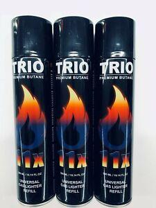 3 X TRIO PREMIUM UNIVERSAL GAS LIGHTER REFILL 11 X STRONGER 300ML