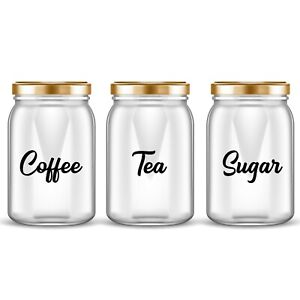COFFEE TEA SUGAR JAR LABELS KITCHEN DECALS ADHESIVE CANISTERS STICKERS