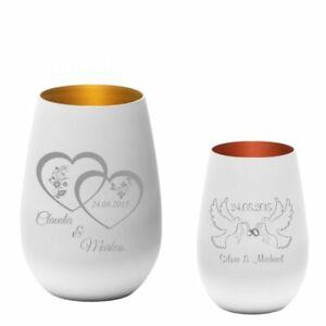 Windlicht mit Lasergravur - wunderschön - mattweiß - Geschenk Hochzeit Verlobung