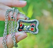 Dog Mom Glass Locket Necklace Floating Charms Bone Paw Print Heart Red Black