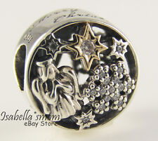 CELESTIAL WONDERS Genuine PANDORA Merry Christmas ANGEL Silver/14K GOLD Charm