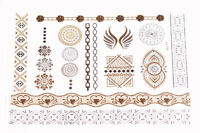 The Golden Era- Gorgeous Silver & Golden Design Easy Metal Tattoo Stickers(Cl35)