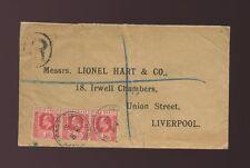GOLD COAST KE7 REGISTERED 3 x 1d 1907 to LIVERPOOL...R HANDSTAMP CAPE COAST PMKs