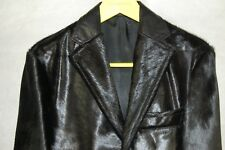 FRANKIE MORELLO  RUNWAY PONYHAIR LEATHER  FITTED  MEN BLACK JACKET EU 48 US 38