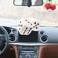 """2.55"""" White Fuzzy Pair Q Vintage Dice Charm Hang Mirror A Car Hanging Furry"""