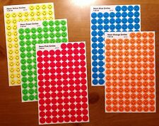 5 Sheets NEON Smiley SMILE Face 500 Scrapbook Stickers Orange Yellow Green Blue
