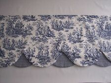 NAVY DELFT/WHI WAVERLY RUSTIC TOILE LAYER SCALLOP COVER BUTTONS Valance Curtains