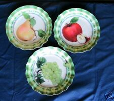 """Fruit Plates Acrylic 11"""" Round with Scalloped Edge Pear, Apple, Grapes Set of 3"""