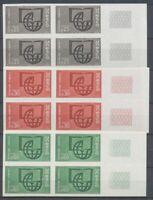 1966 France SERVICES. Blocs de 4 du N°36 à 38 Non dentelés N** COTE 860€ D1623
