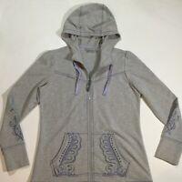 Athleta Womens Size Medium Embroidery Zip Up Sphinx Hoodie Yoga Jacket In Gray