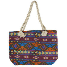 Print Tote Beach Bag Lux Accessories Women's Colorful Ikat