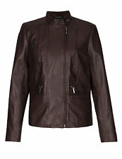 M&S Autograph Leather Zip Pockets Biker Jacket Brown Size UK 18 LF075 MM 14