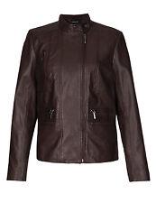 M&S Autograph Leather Zip Pockets Biker Jacket Brown Size UK 18 LF075 MM 14