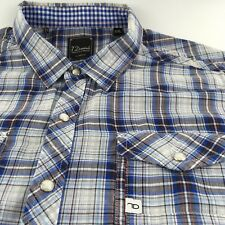 7 Diamonds Mens Slim Fit XLarge Western Pearl Snap Button Shirt Contrast Cuff