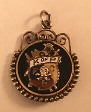 "ANTIQUE KNIGHTS OF PYTHIAS ONYX GOLD PLATE & ENAMEL 1 1/4"" WATCH FOB"