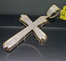 "10K Men's Yellow Gold Unique Cross With 0.63CT Diamond 2.5"" Long/Jesus/ Angel"