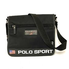 """Ralph Lauren Polo Sport Black Spell Out Messenger Bag 12""""X10.5""""X2"""" With Strap"""