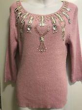 Lauren Michelle Women's Sparkling Pink/sliver Embellishment Split Sweater