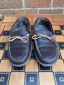 L.L. Bean Men 10 M Handsewn Slippers Moccasin Brown Leather Flannel Lined Rubber