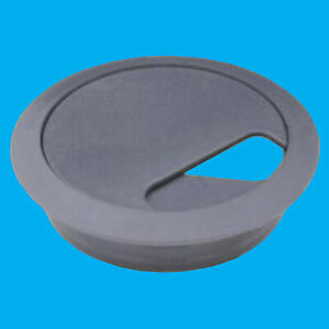 8x 80mm Dark Grey Computer Desk Table Grommet Cable Tidy Port Wire Hole Cover