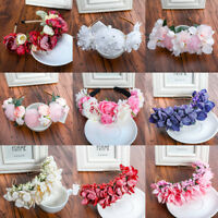 Boho Crown Pearl Lace Flower Headband Hairband Wedding Hair Garland Hair Wreath