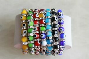 Wholesale lots 12 Evil Eye Bracelet Glass Beads Luck Charm Jewelry Stone Fashion