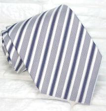 Cravatta uomo Regimental grigio e nero JACQUARD 100% seta Made in Italy RP€ 35