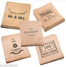 Luck & Luck White & Brown Paper Bags All Designs x 90 Wedding / Craft / Favours