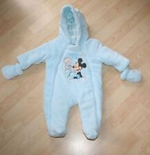 Disney Luxury Light Blue Softest Mickie Mouse Snowsuit & Mittens Sz 3-6 mns