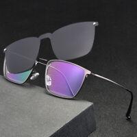 Magnetic Eyeglass Frames Clip-on Polarized Sunglasses Square Glasses  Mens