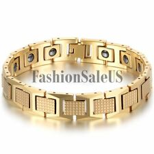 Men Fashion Luxury Gold Tungsten Carbide Magnet Charm Health Bracelet Cool Chain