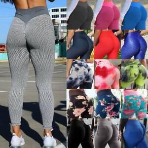 Women High Waist Yoga Pants Anti-Cellulite Leggings Butt Lift Sports Gym Booty K