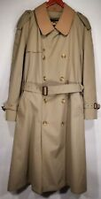 Brooks Brothers Double Breast Lined Wool Belt Trench Coat 46 Plaid Dupont Teflon