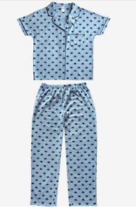 Sesame Street Cookie Monster Notched Collar Women's Pajama SET Blue Size Small