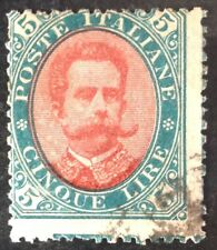 Italy 1889 5 Lire Red & Green stamp vfu
