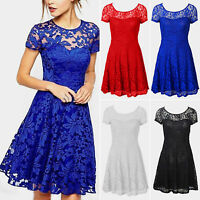 Ladies Lace Skater Dress Wedding Bridesmaid Party Evening Dresses Plus Size 6-16