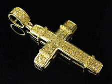 "10K Yellow Gold Over Canary Diamond Block Style Cross Pendant 1.5"" 1.50Ct"